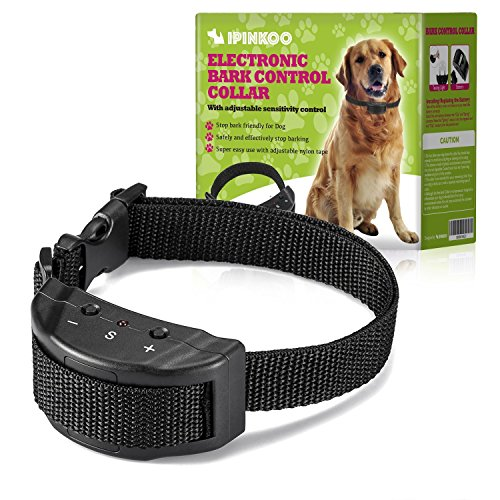 ipinkoo No Bark Collar Training Device,Electric Shock Anti Dog Bark Contorl with 7 Levels Manual Adjustable Sensitivity