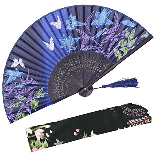 OMyTea Hand Held Silk Folding Fans with Bamboo Frame - With a Fabric Sleeve for Protection for Gifts - 100% Handmade Oriental Chinese / Japanese Vintage Retro Style - For - Accordion Band