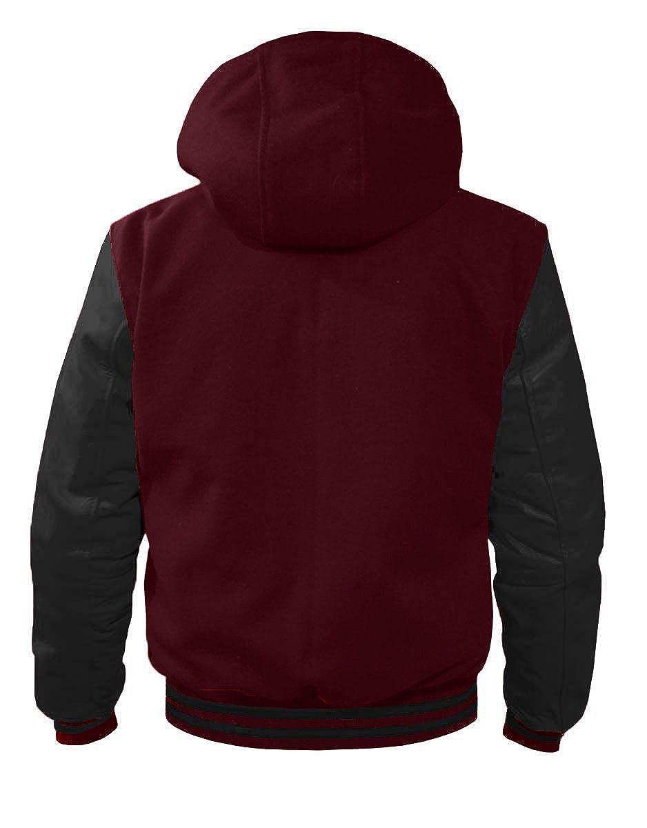 Superb Leather Sleeve Original American Varsity Letterman College Baseball Kid Wool Hoodie Jackets #BBB