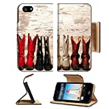 (US) Liili Premium Apple iPhone 5 iphone 5S Flip Pu Leather Wallet Case iPhone5 IMAGE ID: 21429862 American West Legend cowgirl leather boots rear heel view in straight western line over old wood planks at