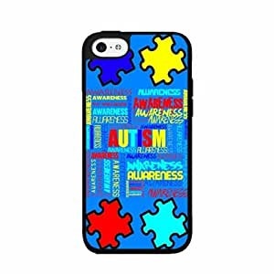 Autism Awareness on Blue Background Plastic Phone Case Back Cover iPhone 4 4s