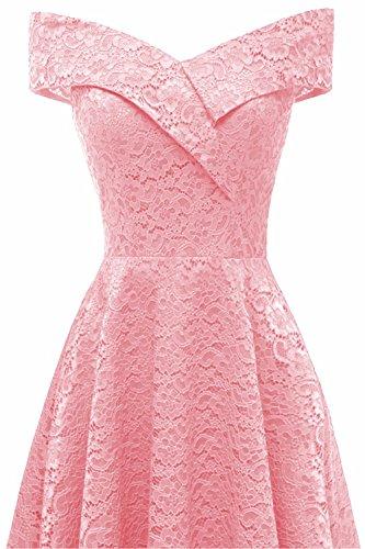 Misshow Elegant Carmenausschnitt Spitze Kleid Cocktailkleid