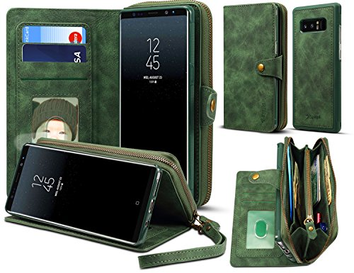 Spaysi, Samsung Galaxy Note 8 Zipper Wallet Case for Women Galaxy Note 8 Detachable Magnetic Wallet Case for Galaxy Note 8 Card Holder Case Leather Folio Flip Holster Carrying Case for Note 8 (Green)