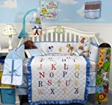 SoHo A-Z Alphabet Baby Boy Crib Nursery Bedding Set 13 pcs with diaper bag, changing pad and bottle case, Baby & Kids Zone