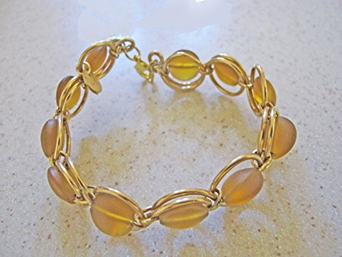 Southwestern Wire Bracelet - Amber Sea Glass, Nu Gold (Amber Coin Glass)