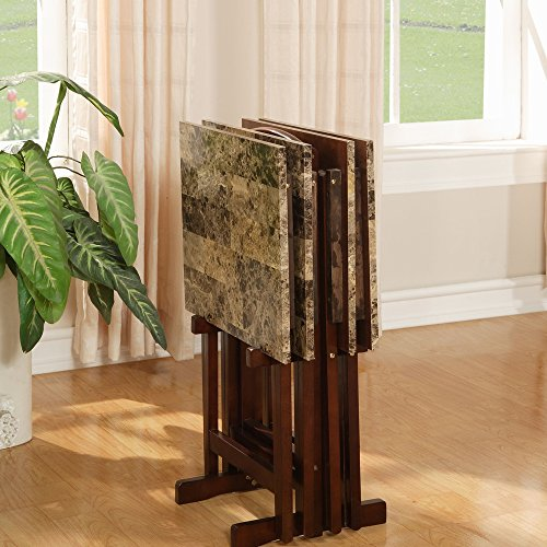 Linon Home Decor Tray Table Set, Faux Marble, Brown - Buy
