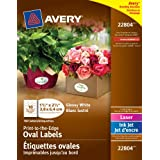"""Avery Print-to-the-Edge Oval Labels for Laser and Inkjet Printers,  1-1/2"""" x 2-1/2"""", Glossy White, Oval, 180 Labels, Permanent (22804)"""