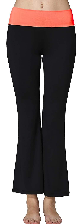 Sugar Pocket Womens Fold Over Waistband Bootleg Yoga Pants