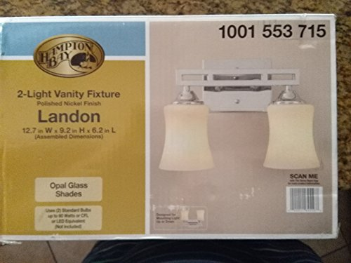 Hampton Bay Larson 2-Light Polished Nickel Vanity Light with Dual Bar and Frosted Glass ()