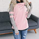 Respctful ♪☆ Women's Sweaters,Ladies Long Sleeve Hooded Sweaters Patchwork Pullover Casual Sweaters Jumper