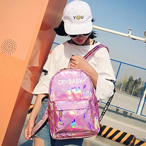 Goodsatar Mujeres Hombres Poliéster Mochila Mochilas del hombro Mochila escolar Mochila de viaje 26cmX12cmX38cm (Gris) Rosa