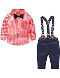Baby Boys Clothes Sets Bow Ties Shirts + Suspenders Pants Toddler Boy Gentleman Outfits Suits(0-4 Years)