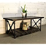 Furniture Pipeline Rustic Rectangle Coffee Table, Metal with Reclaimed Aged Wood Finish, Black Steel Pipes and Fittings with Dark Brown Stained Wood
