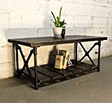 Barn Style Coffee Table Furniture Pipeline Rustic Rectangle Coffee Table, Metal with Reclaimed Aged Wood Finish, Black Steel Pipes and Fittings with Dark Brown Stained Wood
