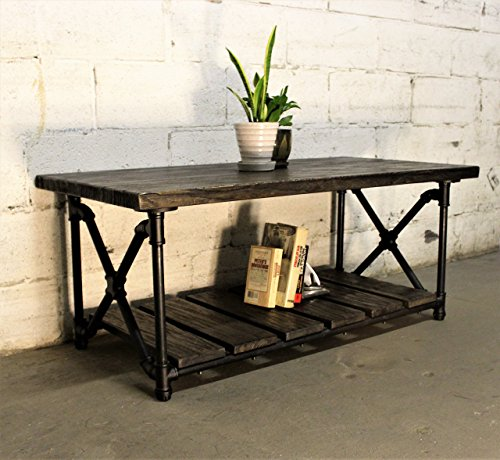 FURNITURE PIPELINE Rustic Rectangle Coffee Table, Metal with Reclaimed Aged Wood Finish, Black Steel Pipes and Fittings with Dark Brown Stained -