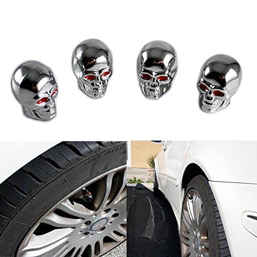 Tire Wheel Valve Stem Air Dust Cover Caps Set Chrome Skull Head For Car Truck Motorcycle ()