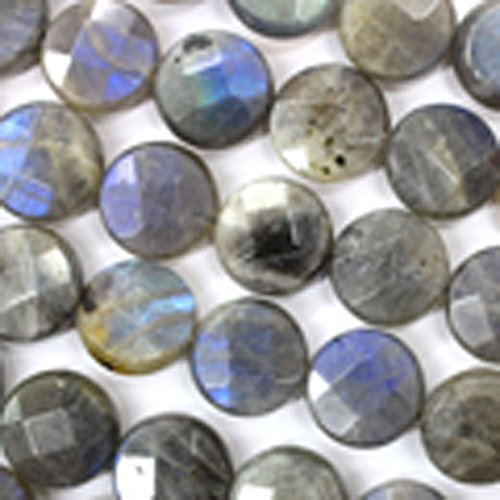 Faceted Natural Color Genuine Labradorite Coin Real Gemstones Loose Beads for Jewerly Bracelet Making (Labradorite Faceted Coin Beads)