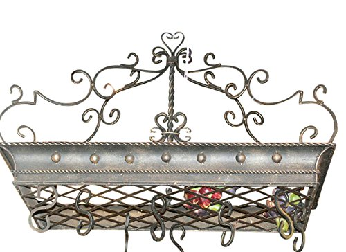 Posh ITALIAN SCROLLWORK Iron POT RACK Pan Hanging Ceiling Luxe Designer Metal - Antique Italian Tole