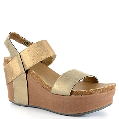 Corkys Wedge Womens Sandal 7 B(M) US Gold (Corkys Shoes Women Sandals)