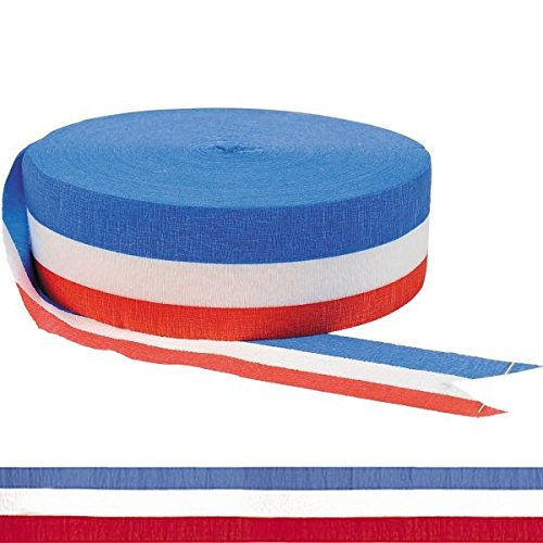 Red, White & Blue Jumbo Party Crepe Streamer -