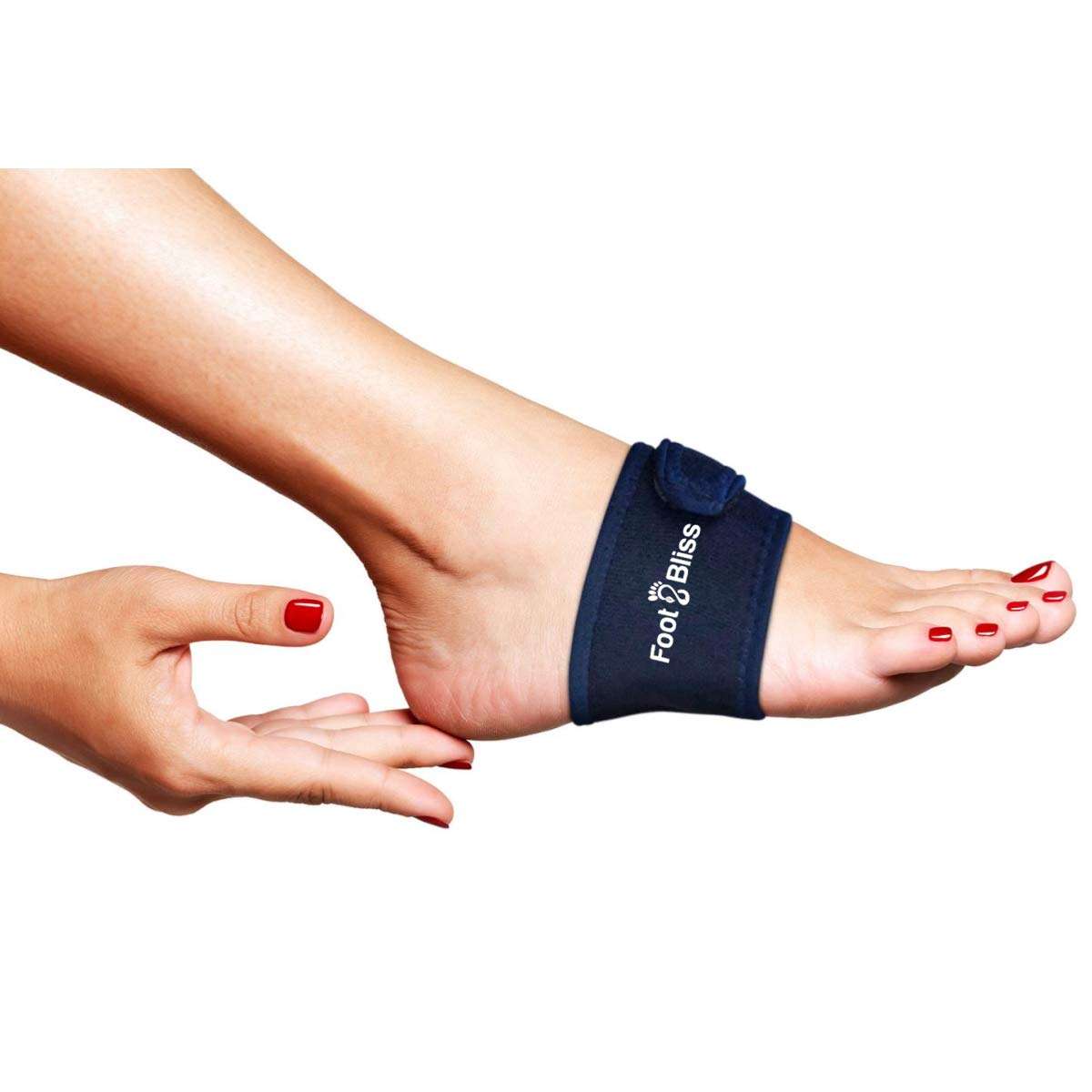 Padded Arch Support Compression Wrap with Adjustable Strap by Foot Bliss for Arch Pain, Plantar Fasciitis, Foot Pain, High Arches, Flat Feet, Heel Spurs, Gel Pad to Relieve Aches Pains (Blue, Regular) by Copper Compression Gear (Image #1)