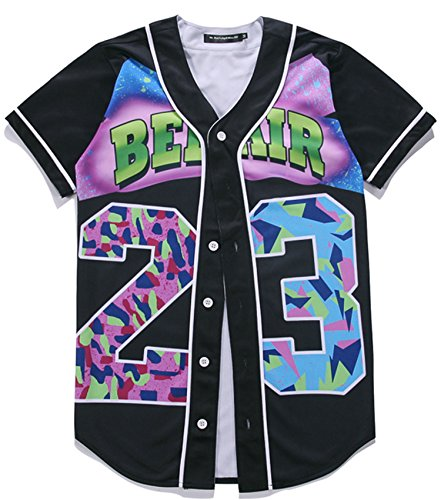 HOP FASHION Youth Unisex Boy Girl Baseball Jersey Short Sleeve 3D Colorful 23 Print Dance Team Uniform Tops Shirt HOPM007-01-M