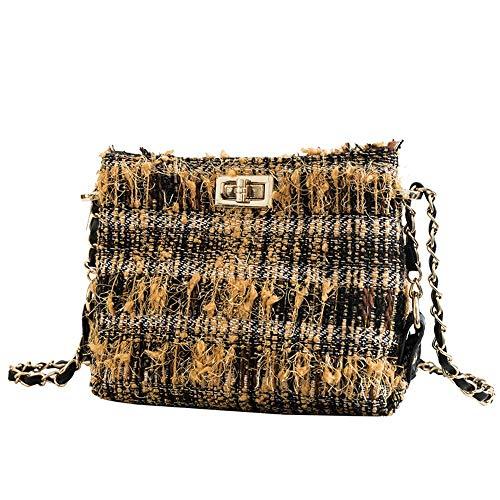 Lock Small quadrata Messenger Bag borsa spalla giallo Piccola Chain Messenger Wangkk Style Fragrance One bianco HwAvtn4qx