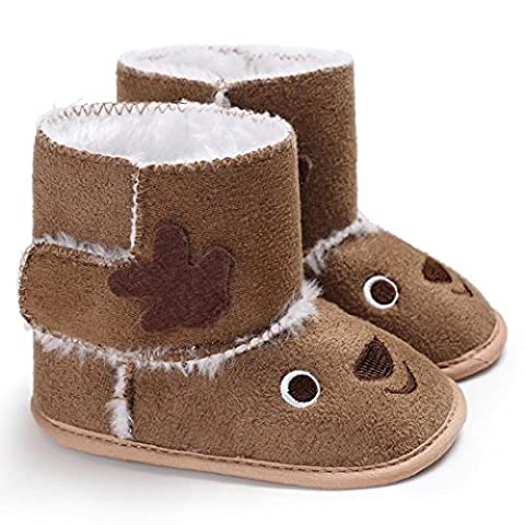 Christmas Elk Baby Soft Sole Snow Boots Soft Crib Shoes Toddler Boots (12cm, Brown) - Fawn Footwear