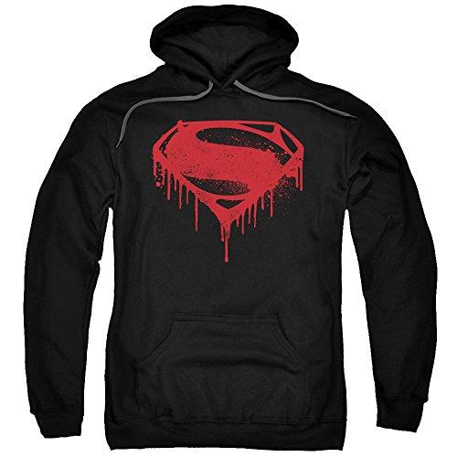 Trevco Batman v Superman Splattered Black Unisex Adult Pull-Over Hoodie For Men and (Superman Adult Mens Hoodie)