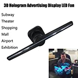 3D Advertising Display Hologram Led Fans, Staron Naked Eye Holographic Imaging 3D Projected Fan LED Lights Rotating Display for Party, Shopping Mall, Restaurant or Courtship (Black)