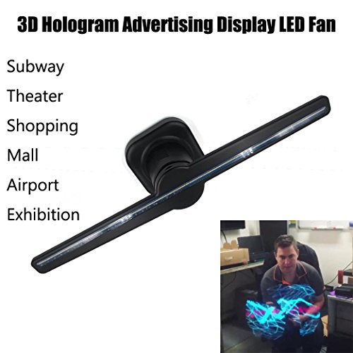3D Advertising Display Hologram Led Fans, Staron Naked Eye Holographic Imaging 3D Projected Fan LED Lights Rotating Display for Party, Shopping Mall, Restaurant or Courtship (Black) by Staron