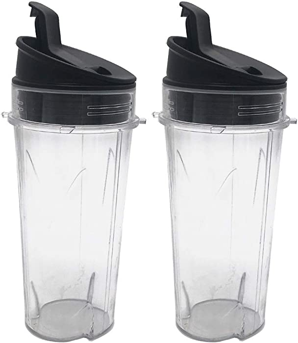 JOYSTAR Two Pack 16-Ounce (16 oz.) Cup with Sip & Seal Lid Fit for Nutri Ninja blender series with BL660/BL663/BL663CO/BL665Q/BL771/BL773CO/BL780/BL780CO/BL810/BL820/BL830/QB3000/QB3000SSW/QB3004/QB3005