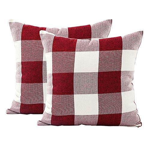 (Classic Retro Checks Red White Buffalo Plaids Style Cotton Linen Decorative Throw Pillow Covers Square 18x18 Inches 45 x 45 cm, Set of 2)