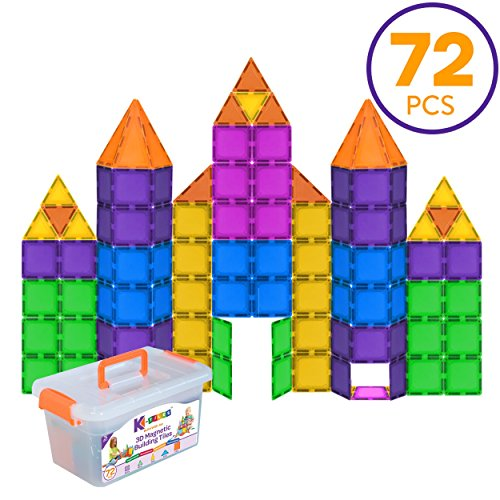 K-Tiles Magnetic Building Tiles for Kids (72 Pieces) - Colorful Tiles, Strong Magnets, Educational Toys for Children, Creativity, Imagination, Cognitive Development & Motor Skills for Girls & -