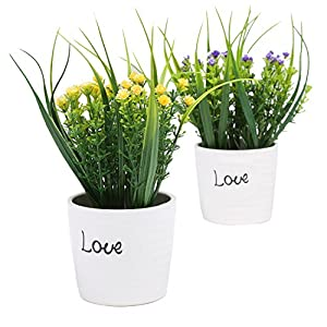 MyGift Set of 2 Purple & Yellow Artificial Flowers, Faux Plants in White Ceramic Pots 75