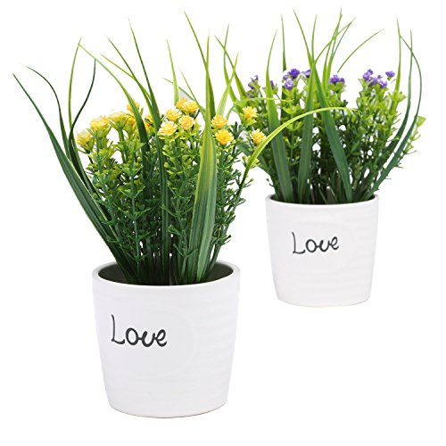 Set of 2 Purple & Yellow Artificial Flowers, Faux Plants in White Ceramic Pots by MyGift