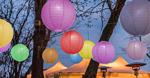 Paxcoo 12 Pack Paper Lanterns with Assorted Colors and Sizes by PAXCOO (Image #5)