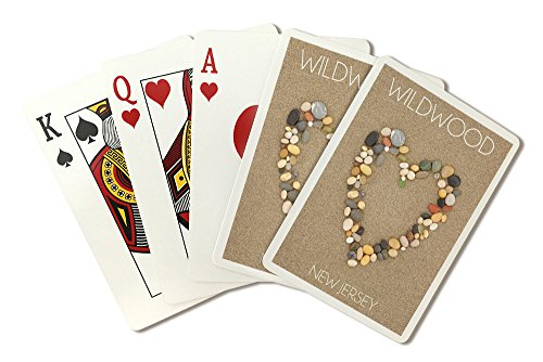 Wildwood, New Jersey - Stone Heart on Sand (Playing Card Deck - 52 Card Poker Size with Jokers)