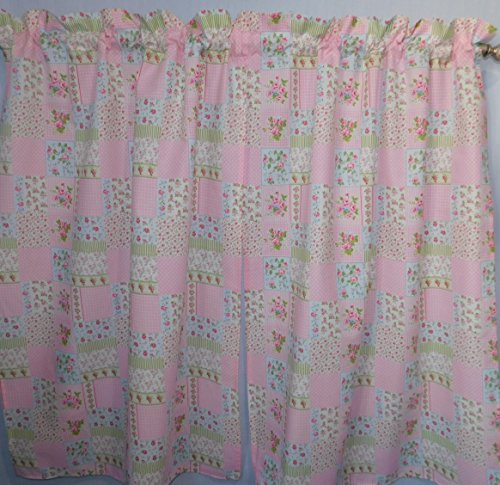 (Shabby chick flowers rosebuds pink, sage green flowers , 2 panels/ Tiers - Window / Kitchen, Bath, Laundry, Camper, RV, basement, kids rooms, daycare schools, office, Kitchen cafe curtains , 40