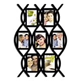 Adeco [PF0003] Decorative Black Wood Wal Hanging Picture Photo Frame Lace/Curved Crosshatch, 7 Openings, 4x6''