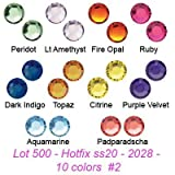 Wholesale lot 500 #2028 Swarovski Crystal Hotfix Flatback Rhinestone Xilion Rose ss20. 10 colors (#2)