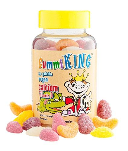 Gummi King Calcium Plus Vitamin-D Supplement, Strawberry/Lemon/Orange/Grape/Cherry/Grapefruit, 60