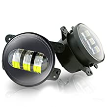 TURBO SII 2pcs 4 Inch 30w  Led Fog Lights Len Projector for Jeep Tractor Boat Led Fog Lamps Bulb Auto Led Headlight Driving Offroad Lamp for Jeep Wrangler Dodge Chrysler Front Bumper Lights