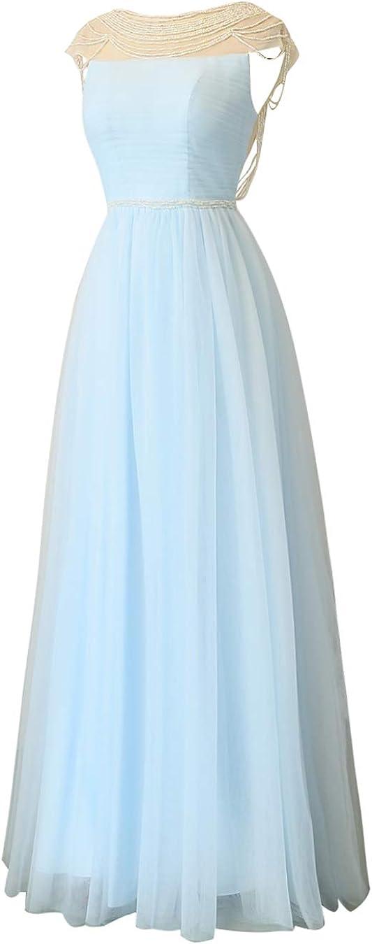 ALAGIRLS Femme Robe Longue Manches Courtes en Tulle avec Perles Robe Cérémonie Soirée Elégante Lavande