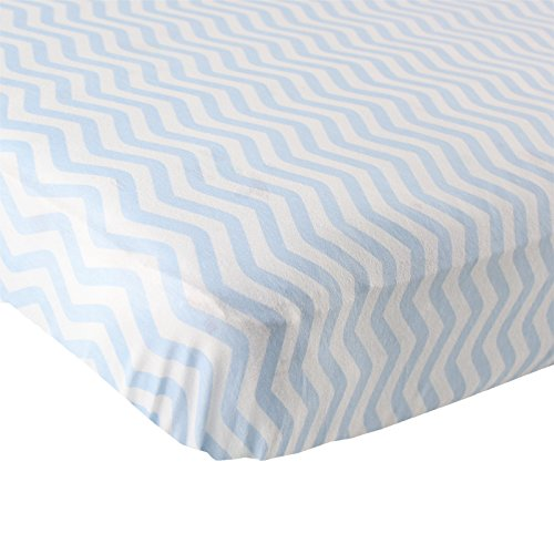 Luvable Friends Fitted Knit Cotton Crib Sheet, Blue Chevron