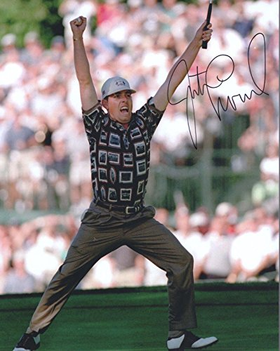 (Justin Leonard Signed Picture - 8x10 COLOR +COA GREAT RYDER CUP POSE - Autographed Golf Photos)