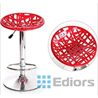 Ediors NEW NEST Style ABS Hydraulic Air Lift Adjustable Bar Stools Modern Swivel Dinning Counter Chair Barstools Set of 2 (RED)