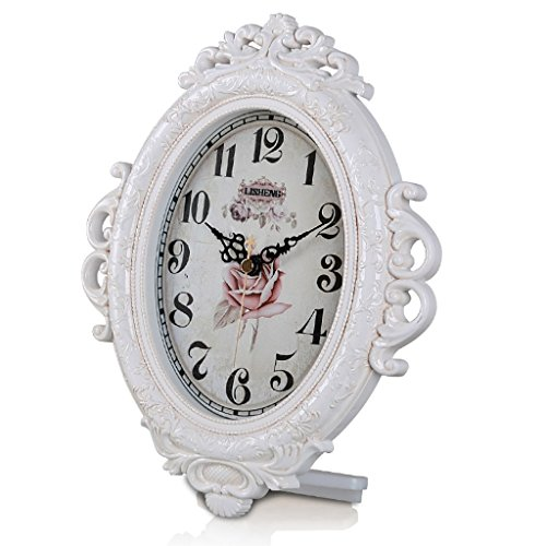 LANNA SHOP- Retro Mantel / Mantle Rhythm Quartz Clock resin living room desk shelf clocks Decoration ( Color : White ) - Resin White Clock