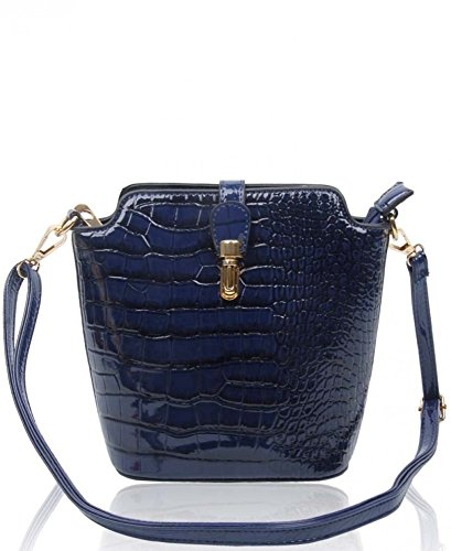 Chic Body Size Handbags Plain Small Across Cross Ladies Bag LeahWard® Crocodile Women's Faux 160402 navy C Body Skin wIfqwS