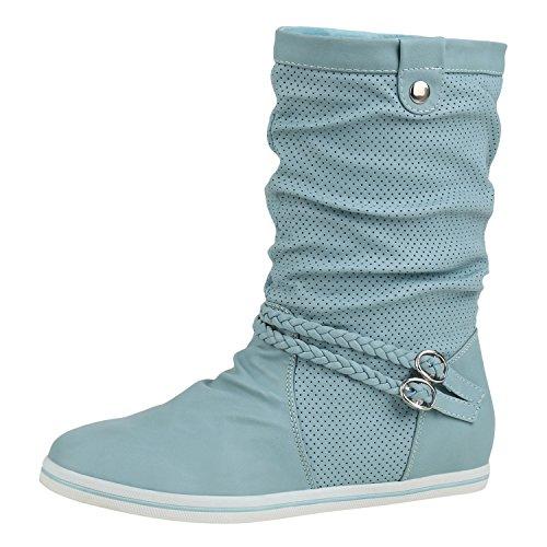 napoli-fashion Sportliche Damen Stiefeletten Stiefel Flache Boots High Low Top Jennika Türkis Schnalle